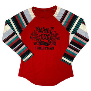 S Red Striped Christmas Long Sleeve T-shirt Top